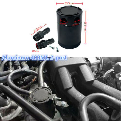 Aluminum 400ML 2-port Oil Catch Can Tank Air-oil Separator For Racing Baffled
