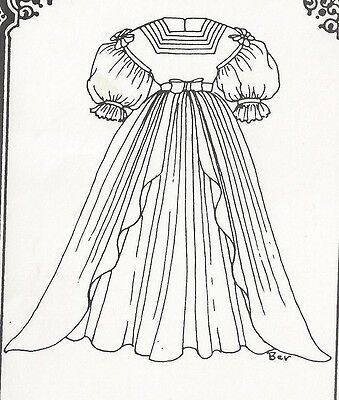 "16-17""ANTIQUE FRENCH FASHION LADY/GIBSON GIRL DOLL DROP SHOULDER DRESS PATTERN"