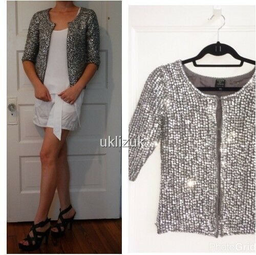Silver Topshop Taglia Sequin Evening Cardigan Jacket Moss Kate 8 q4zw1P