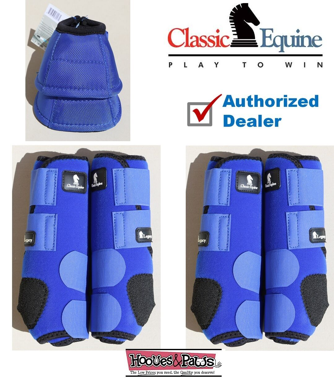 SMALL bluee CLASSIC EQUINE Front Rear Legacy Horse Sports Leg No Turn Bell Boots