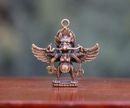 4 cm China Pure Copper Bronze Garuda Bird Buddha Statue Pendants