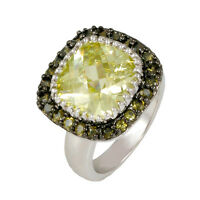 Pave+ 12mm Cushion Cut Peridot Cubic Zirconia Ring-bridal-aaa Stones