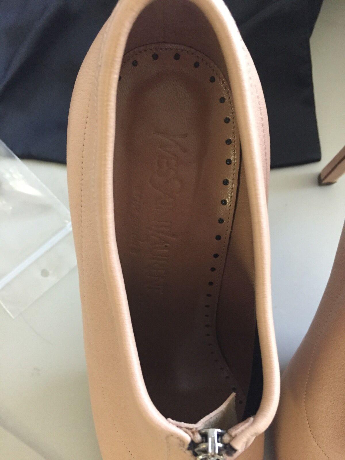 YSL bluesh Nude Pink Stretch Leather Leather Leather Joan Bootie Heels Zip Peep Toe 39.5  550 b9c2b1