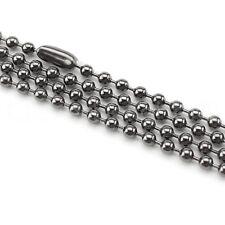 "10 Pk 24"" Ball Chain Necklaces - Gunmetal (Dark Silver) Color - 3.2mm Dog Tag"