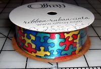 Autism Awareness Jigsaw Puzzle Pieces Bright Color Ribbon 7/8 Satin 9 Feet