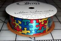 Autism Awareness Jigsaw Puzzle Pieces Bright Color Ribbon 7/8 Satin 9 Feet