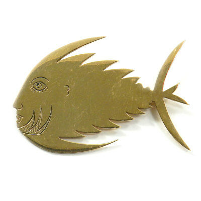 "André Heller ""Fisch"" Dekorative 585 Gold Brosche Wien signiertes Unikat"