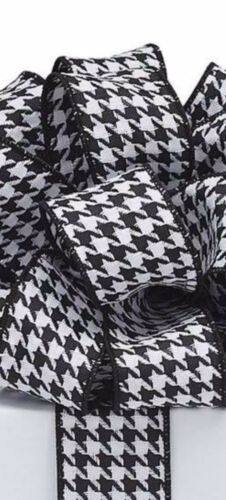 1.5 Inch Black And White Check Wired Ribbon 7 Yards