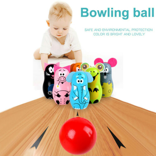 Bowling Set Wooden Toys Kids Bowling 6 Wooden Animal Bowling Set For Child 3+