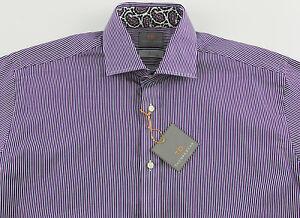 Men-039-s-THOMAS-DEAN-Purple-White-Striped-Shirt-Medium-M-NWoT-110-Pima-Cotton