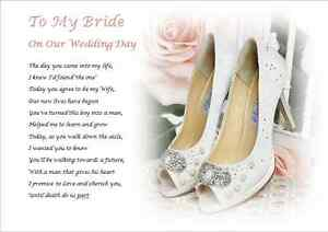 Image Is Loading To My Bride On Our Wedding Day Personalised