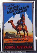 Trans-Australian Railway Vintage Travel Poster - Fridge Magnet. Australia