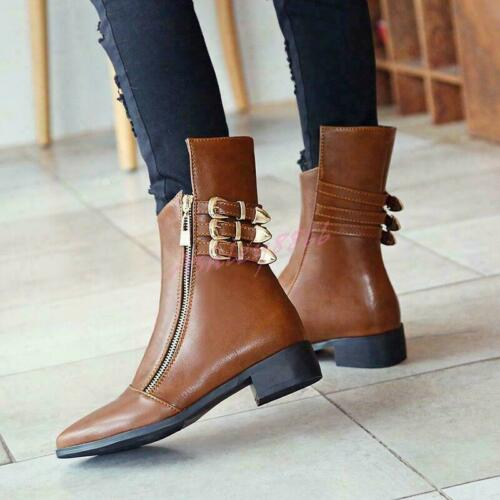 Womens Low Heel Pointy Toe Zip Buckle punk Ankle Boots Shoes