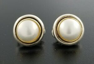 4779743c587ed Details about Tiffany & Co Paloma Picasso 18K Gold Sterling Silver Pearl  Button Mabe Earrings