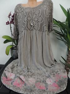 Damen Kleid Größe 46 48 50 52 54 Übergröße Kleider Maxikleid Blumen Spitze 127  eBay