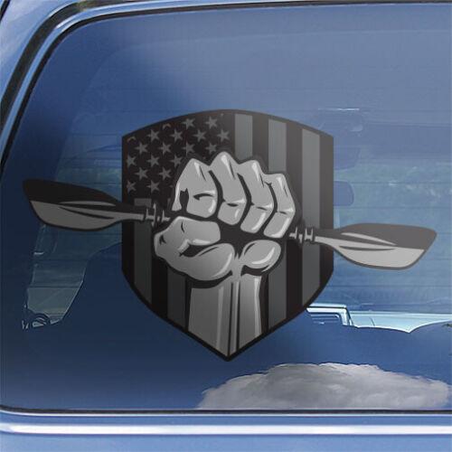 Kayak superhero decal American flag kayaking kayaker paddle car window sticker