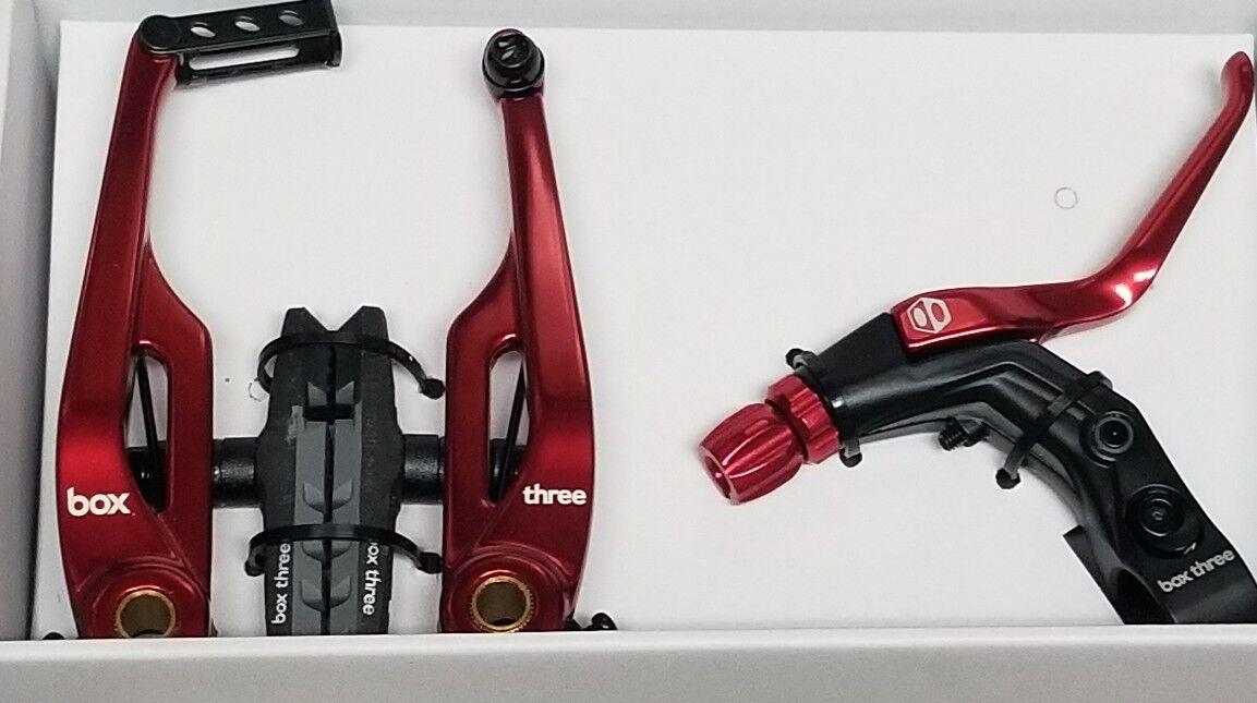 Box Kit de freno de tres Bmx Bicicleta De  Montaña Freno en v 108mm con Cable rojo y Palanca Larga  cómodo