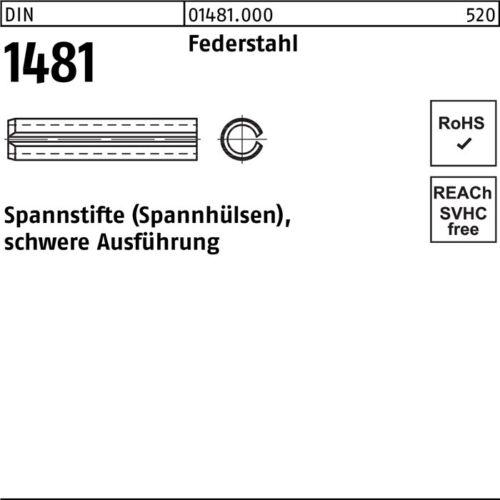 DIVERSE Spannstift DIN 1481 5 x 75 Federstahl schwere Ausführung DIN 1481