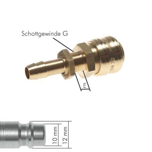 NW 7,2 Druckluftkupplung mit Schottgewinde und Schlauchtülle 6 8 10 mm