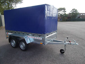 NEW-TWIN-AXLE-Trailer-Box-Camping-Car-9FT-x-4FT-2-70-x-1-32-m-150cm-TOP-COVER