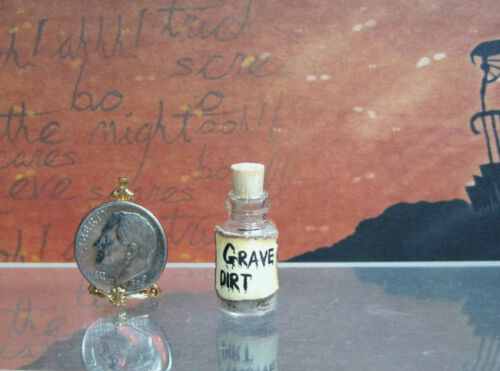 Dollhouse Miniature or Fairy Garden Corked Glass Jar Labeled Grave Dirt