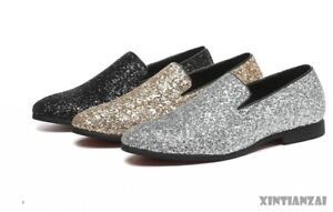 Mens-Sequin-Dress-Formal-Shoes-Slip-on-Loafers-Silver-Sequin-Leisure-Shoes-Show