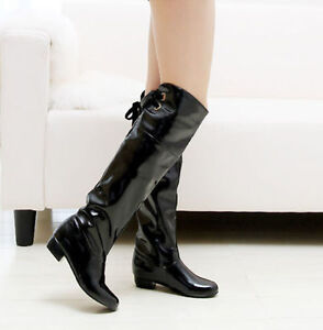 UK-Womens-Ladies-Patent-leather-Low-Heel-Knee-High-Riding-Boots-Shoes-Plus-Size