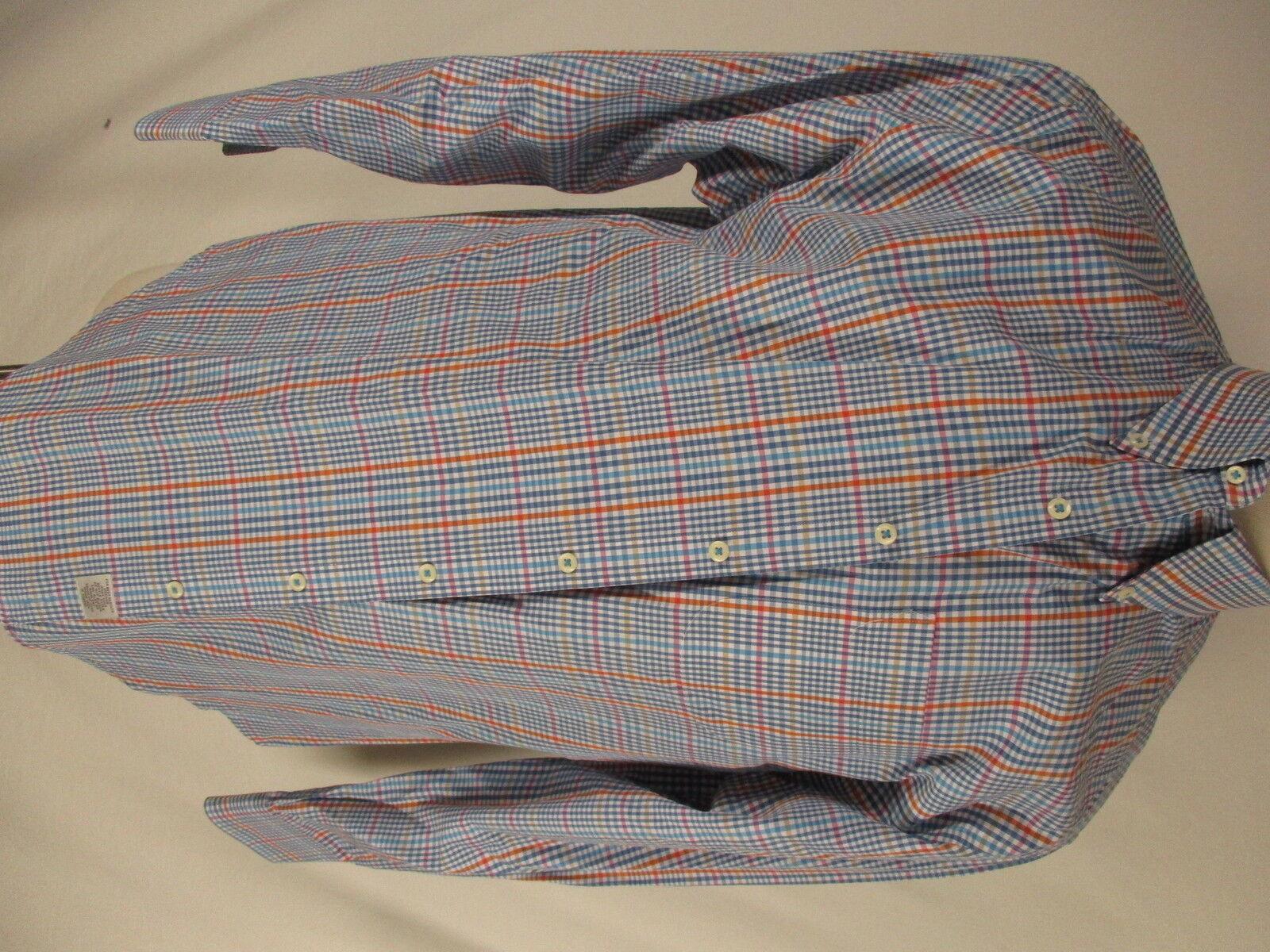 Peter Millar Mens bluee Plaid Long Sleeve Cotton Shirt XL