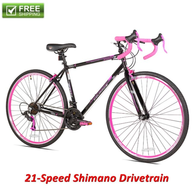 Women Road Bike 700c Black Pink Steel Frame Fitness Bicycle 21 Speed ...