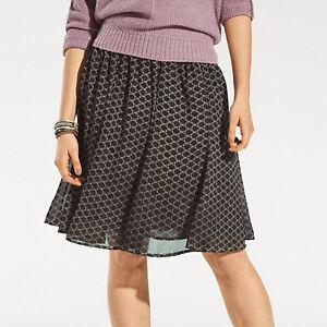 Schwingend-Godet-Chiffonrock-Ornamente-schilf-grau-rot-Chiffon-ROCK-Skirt