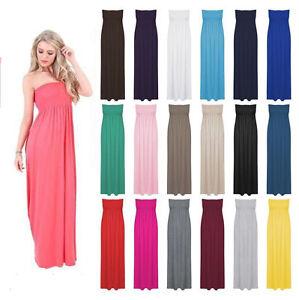 Womens Ladies Strapless Long Maxi Dress Sheering Boobtube Bandeau ...