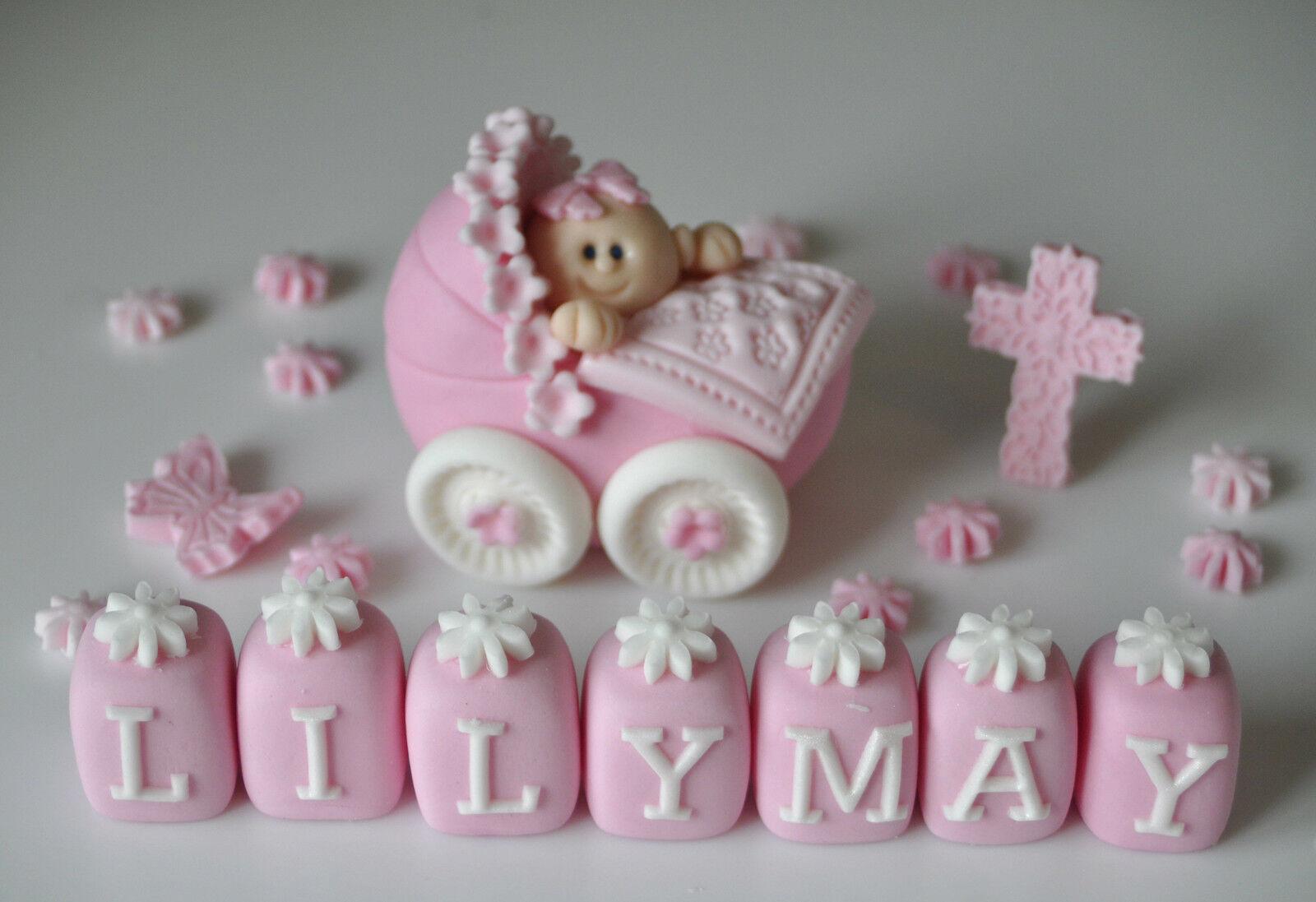 Edible Baby Girl Boy In Pram Christening Cake Topper