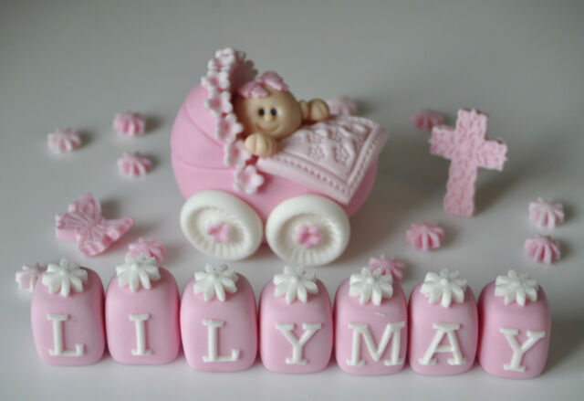 EDIBLE BABY GIRL/BOY IN PRAM CHRISTENING CAKE TOPPER DECORATION NAME BLOCK CROSS