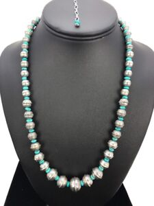 Stamp-Bench-Navajo-Pearls-Graduated-Sterling-Silver-Turquoise-Bead-Necklace-22