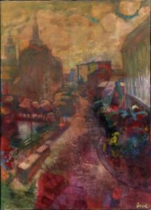 """Ukrainischer Expressionist M. Deyak Öl Leinwand """"Sonnenuntergang"""" 130 x 95 cm"""