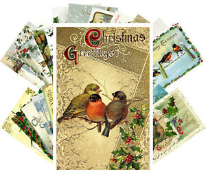 Postcards-Pack-24-cards-Vintage-Christmas-Cute-Birds-Animals-Wishes-CH4015
