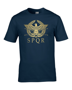 SPQR Cool Youth Boy/'s  T-Shirt Roman Empire Metallic Gold Eagle