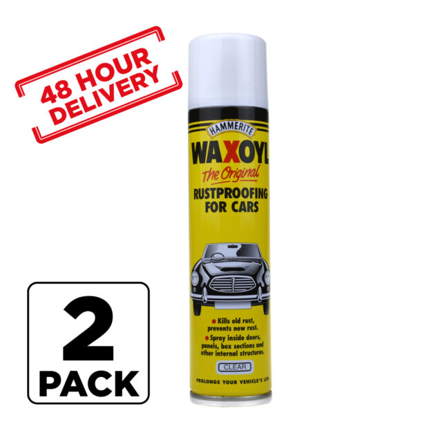 2 x Hammerite Waxoyl Wax Oil Rust proofing Aerosol CLEAR 400ml 48 hour Delivery