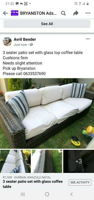 3 seater patio set with glass table