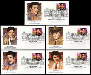 2721-Elvis-Presley-FDC-Issue-Fleetwood-Set-of-Five-Different-Cachets-Unaddressed