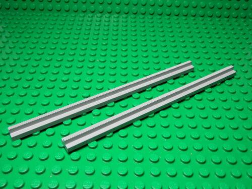 Set of 2  NEW  Train Track Plain Rail Straight LIGHT BLUISH GRAY LEGO LEGOS