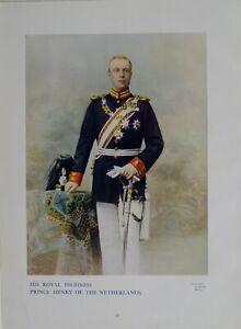 1901 Stampa & Biografia il Suo Royal Highness Prince Henry Di The Paesi Bassi