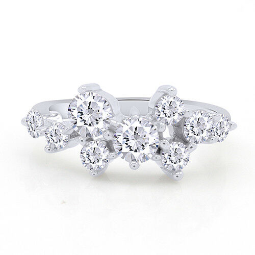 1.50 Ctw Round Brilliant Diamond Spiral Cluster 14K White Gold Finish Ring 5-10