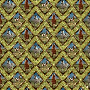 Wild-Wings-Camden-Yard-Diamond-Braid-horses-100-cotton-fabric-by-the-yard