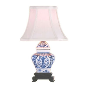 Details About Chinese Blue And White Porcelain Temple Jar Chinoiserie Fl Table Lamp 15