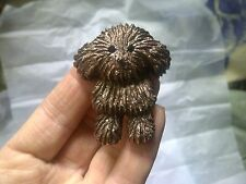 LONDON Designer CHOCOLATE BROWN  HUNGARIAN PULI PUMI PUPPY Dog BROOCH 3D