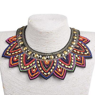 Fabric Colorful Bohemian Acrylic Beads Choker Bib Statement Collar Necklace