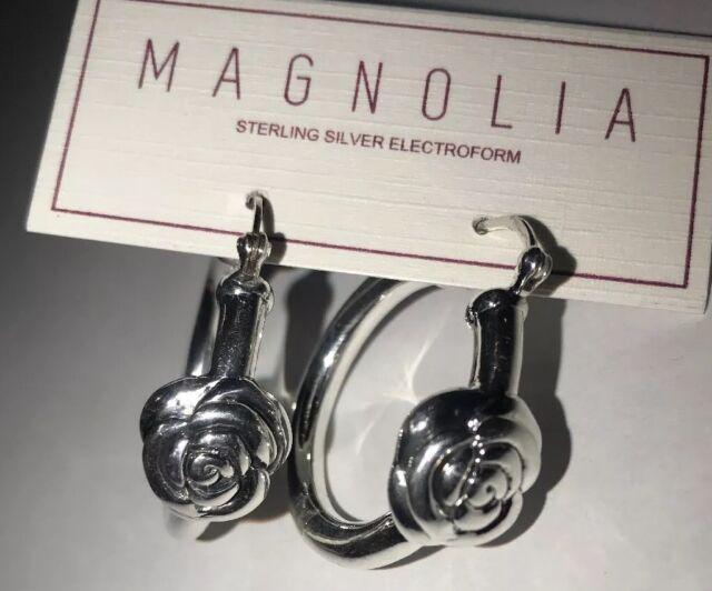 925 Sterling Silver CZ Flower Teardrop Small Huggie Hoop Earrings A1424