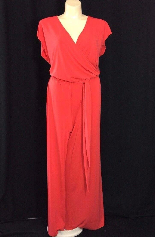 NEW Ralph Lauren Plus 3X Coral orange Pant Suit Jumpsuit Stretch Wide Leg Trendy