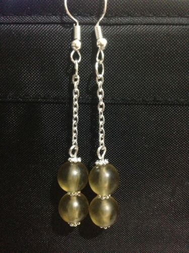 Cuentas de vidrio gota cuelgan pendientes largos con Plata Esterlina 925 Aros Pendiente.